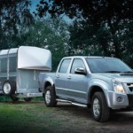 Pickup towing livestock trailer