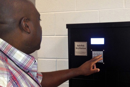 The driver receives a code by text message that will open a locker in which the keys for the allocated vehicle are stored