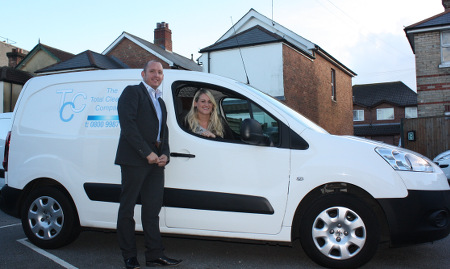 Carly Russell of Total Cleaning Company South and Tom Ross, managing director of ForeTrack