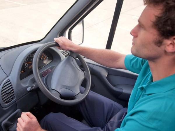 Man driving van