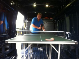 Gary Cuthbert at the new Commonwealth games table tennis venue