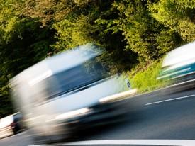 van, blurred, moving, fast