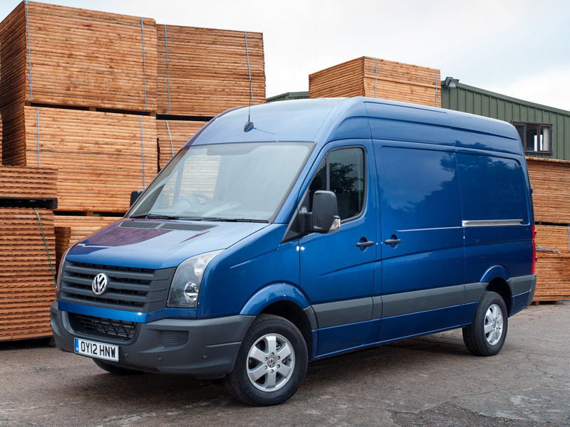 Volkswagen, Crafter, front, parked, wood