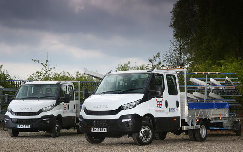 The two new Iveco Daily Dropsides for the GB Rowing Team