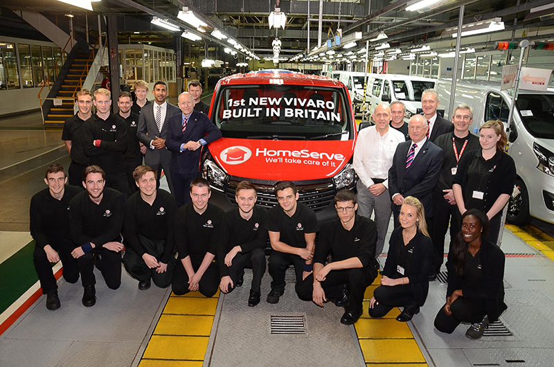 Vauxhall workers and first Vivaro off the line