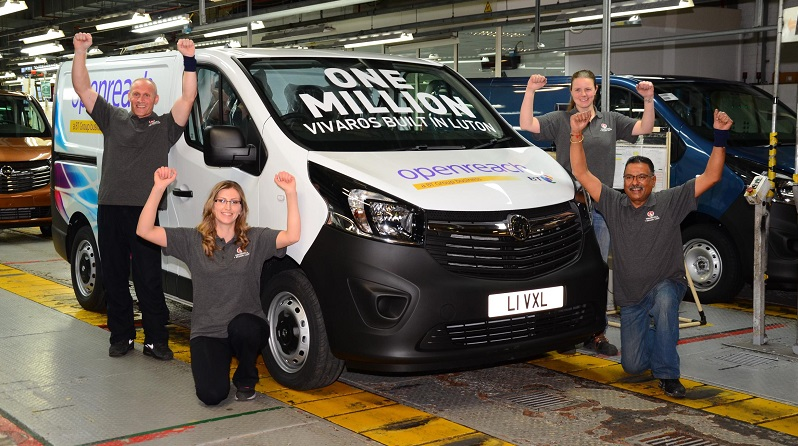 Vauxhall's Luton plant celebrates production of the millionth Vivaro