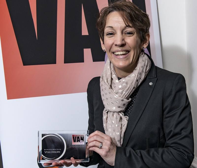 Kate Thompson, head of press and public affairs, Volkswagen Commercial Vehicles, with the Service & Finance Award