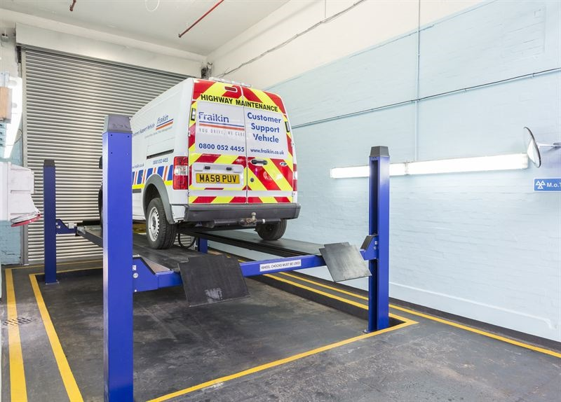 One of the ramps at the new Harrow Council depot MOT test centre run by Fraikin