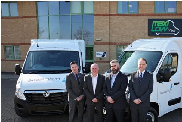 MaxiQube fleet deal: From left, James Rafferty (sales & marketing director, T.O.M Vehicle Rental), Graham Brooks (Breezemount head of fleet), Aaron Shields (Breezemount MD) and Stuart Fairbrother (regional sales manager, North West, Yorkshire & Humber, T.O.M Vehicle Rental)