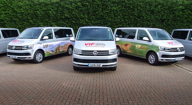 Some of the new VW Caravelles of the 54 bought by Titan and Saga Travel