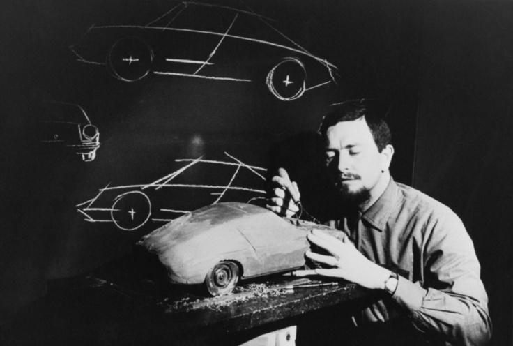 Ferdinand Butzi Porsche at work in his design studio around the time he bought the 1989 Volkswagen T3 Doka