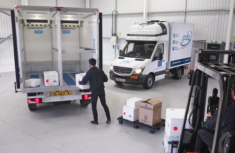 Loading PDQ's vans cooled by Carrier Transicold Pulsor 400 refrigeration units - as the new van refrigeration units pass clinical tests.