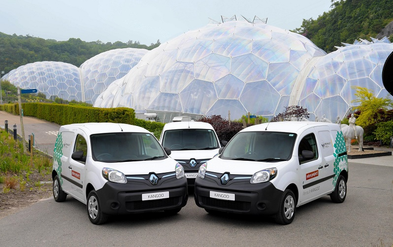 Three of the 13 electric Kangoos for The Eden Project