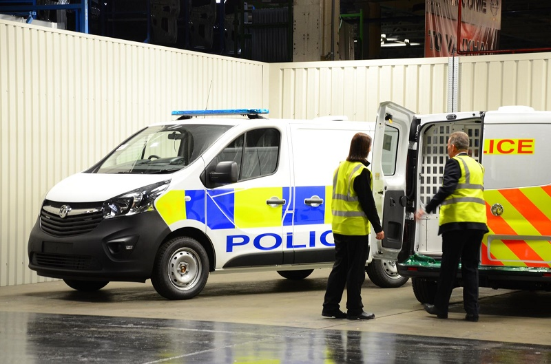 Cars and vans on Vauxhall's police production line