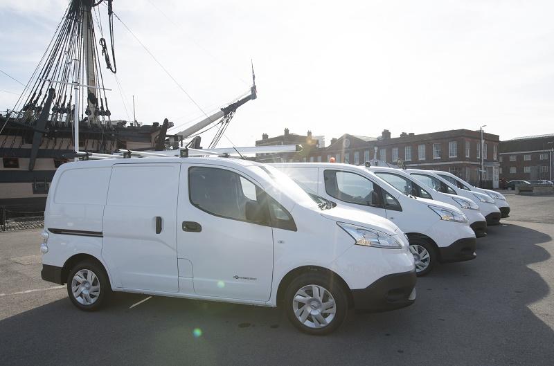 48-van Nissan electric fleet docks at Naval Base