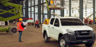 Isuzu D-Max on building site