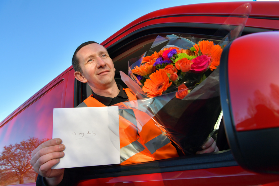 17.01.18 - Milton Keynes, UK. Research by Volkswagen Commercial Vehicles shows how romantic van drivers are, with many writing love letters to their other halves, spoiling them with chocolates and flowers and even arranging surprise dinner dates. Photo: Professional Images/@ProfImages