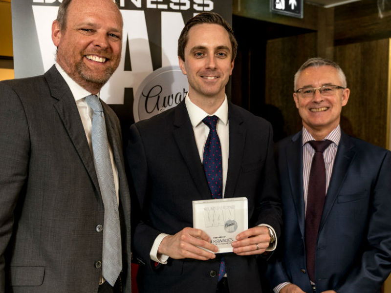 David Hanna, Head of Fleet at Volkswagen Commercial Vehicles, receives the Best Pick-up Award from Chair of the Judges Paul Hollick (left) and award sponsor Colin Parnell of Vansdirect at the Business Van of the Year Awards 2018
