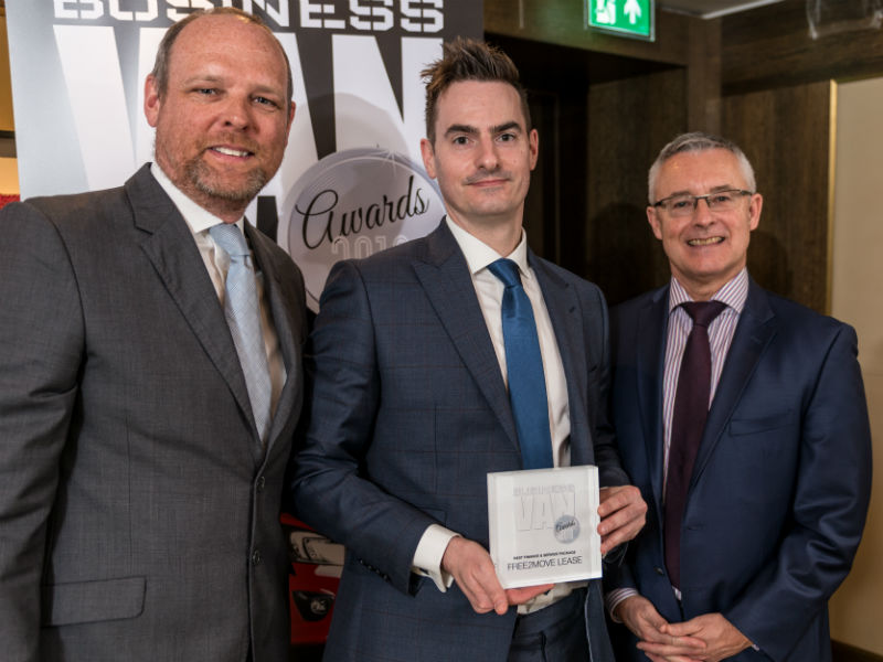 James Birch, Marketing & PR Director at Free2Move Lease, receives the Best Finance & Leasing Package award from Chair of the Judges Paul Hollick (left) and award sponsor Colin Parnell of Vansdirect at the Business Van of the Year Awards 2018