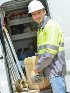 Builder with a van